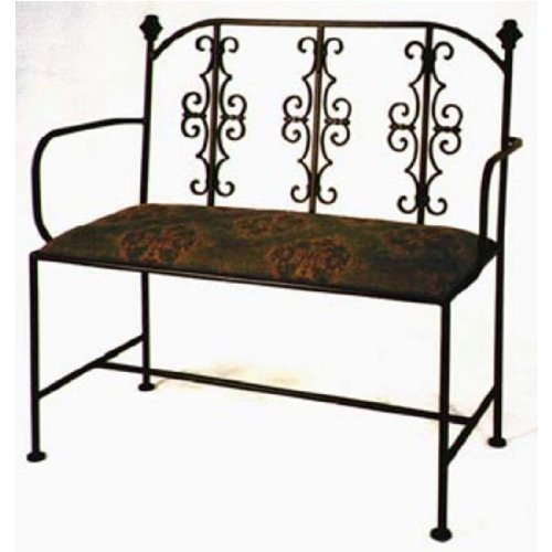 Grace Gothic Wrought Iron Loveseat 40in Lost City Fabric Burnished Copper Finish Coffee